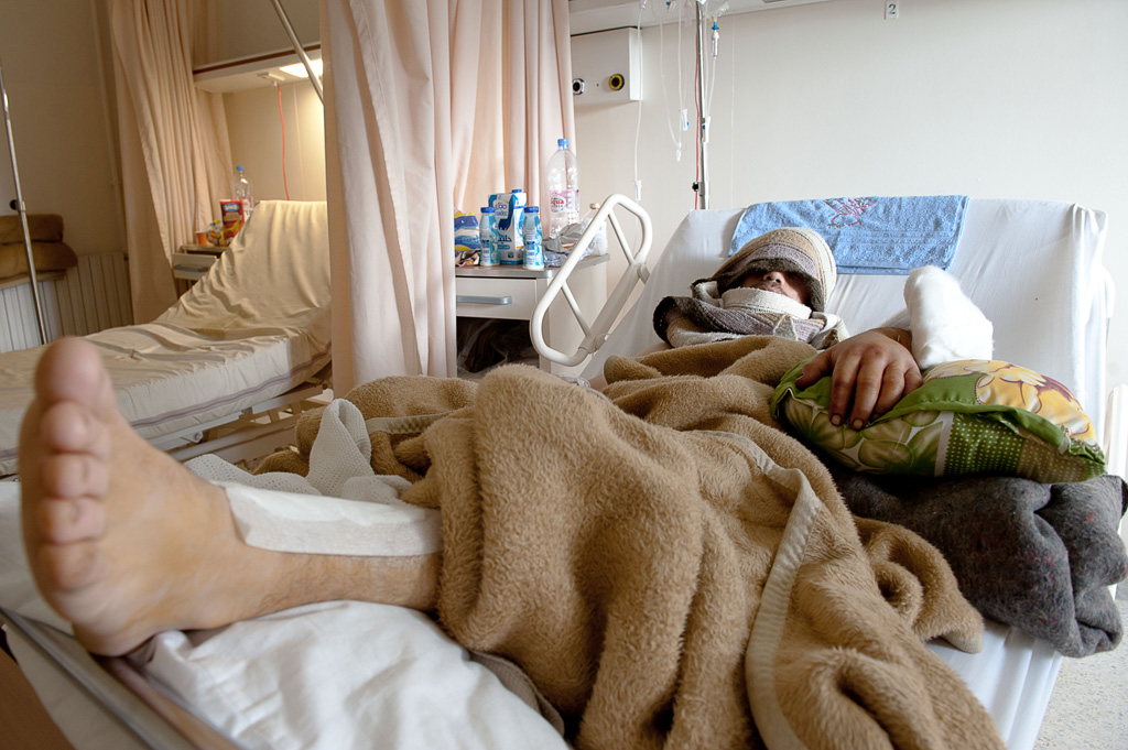 Abu Hassan en el hospital de Trípoli (Líbano). Foto de Natalia Sancha