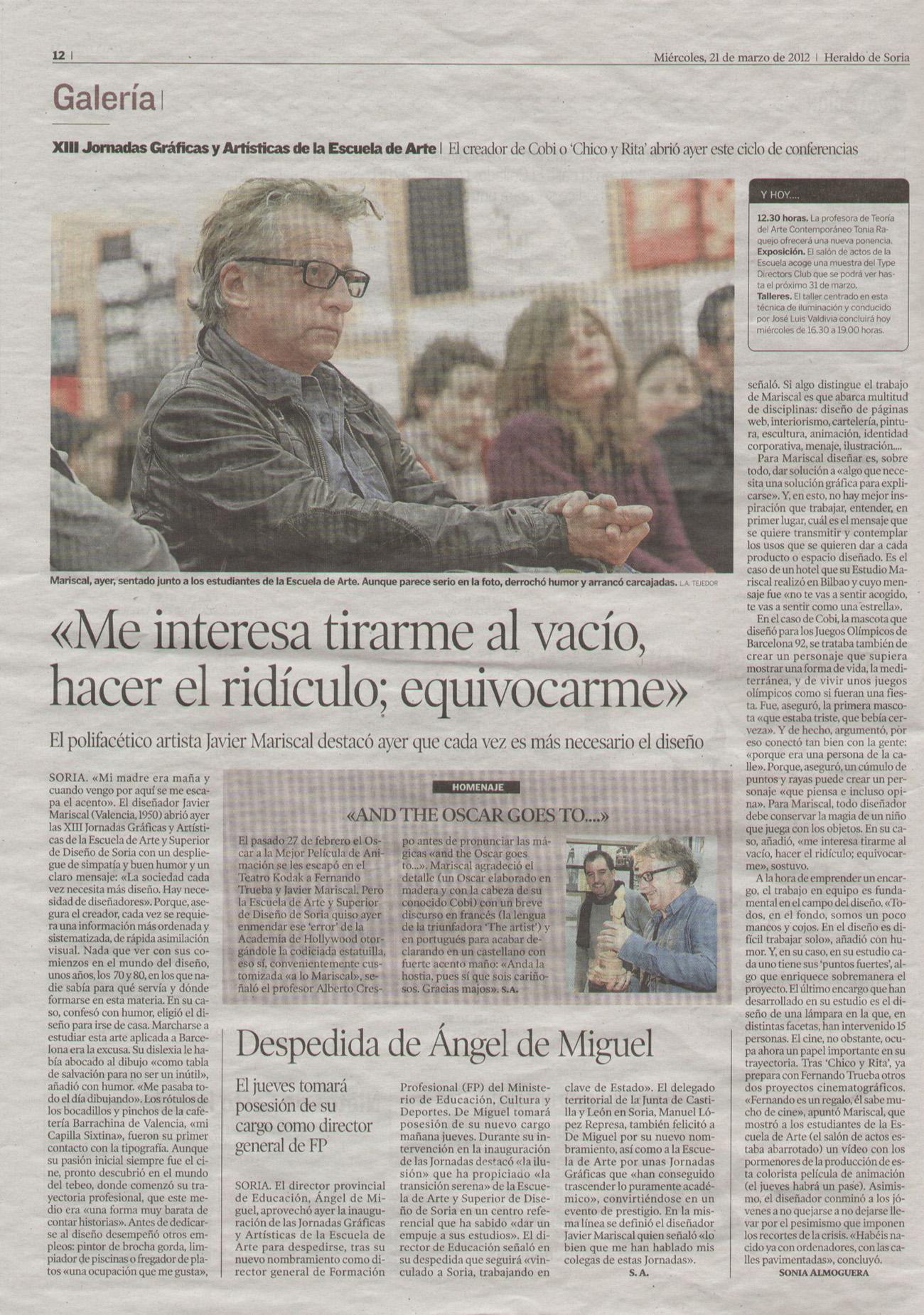 Información sobre Mariscal publicado en 'Heraldo de Soria' (Pincha para ampliar)