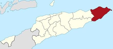 Mapa de Timor Oriental, distrito de Lautem, area de implementación de los proyectos de Cives Mundi, en rojo