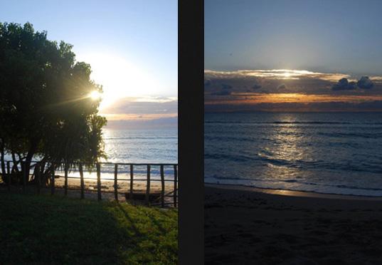 Precioso amanecer (izquierda) y atardecer (derecha) en Tutuala